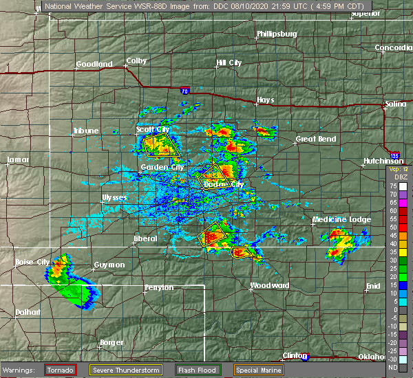 Radar Image for Severe Thunderstorms near Spearville, KS at 8/10/2020 5:09 PM CDT