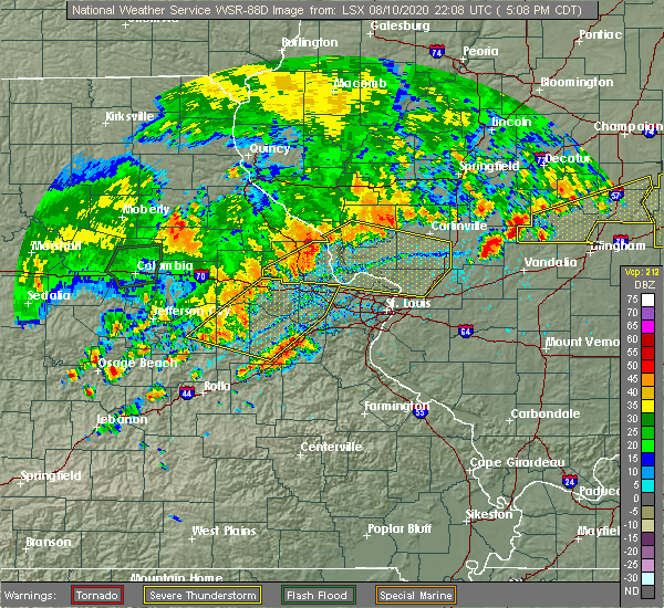 Radar Image for Severe Thunderstorms near Sawyerville, IL at 8/10/2020 5:12 PM CDT