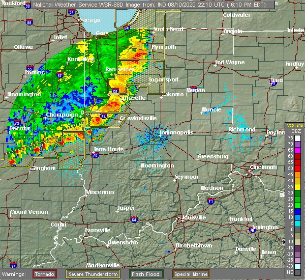 Radar Image for Severe Thunderstorms near Delphi, IN at 8/10/2020 6:18 PM EDT