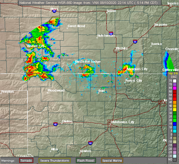 Radar Image for Severe Thunderstorms near Waldron, KS at 8/10/2020 5:18 PM CDT