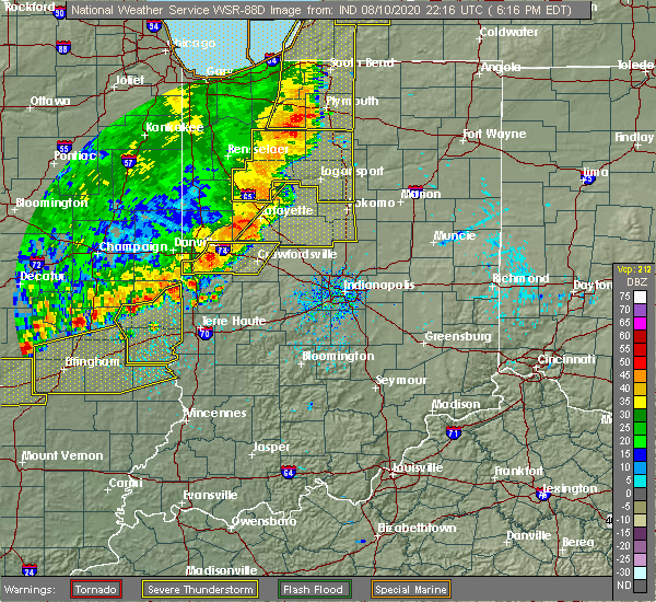 Radar Image for Severe Thunderstorms near Hillsboro, IN at 8/10/2020 6:24 PM EDT