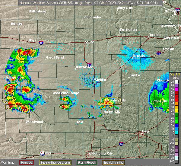 Radar Image for Severe Thunderstorms near Geuda Springs, KS at 8/10/2020 5:26 PM CDT
