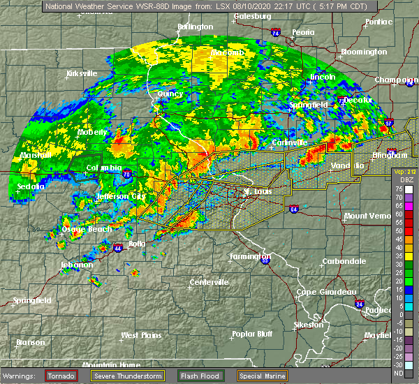 Radar Image for Severe Thunderstorms near Sawyerville, IL at 8/10/2020 5:27 PM CDT