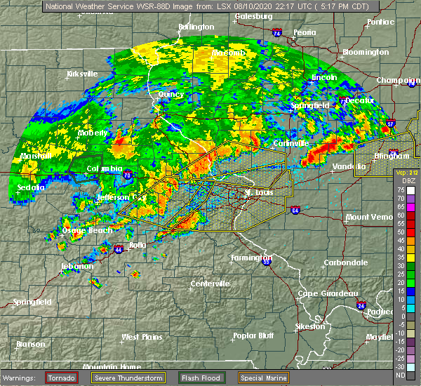Radar Image for Severe Thunderstorms near St. Peters, MO at 8/10/2020 5:26 PM CDT