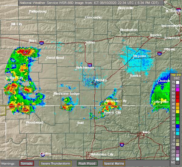 Radar Image for Severe Thunderstorms near Arkansas City, KS at 8/10/2020 5:36 PM CDT