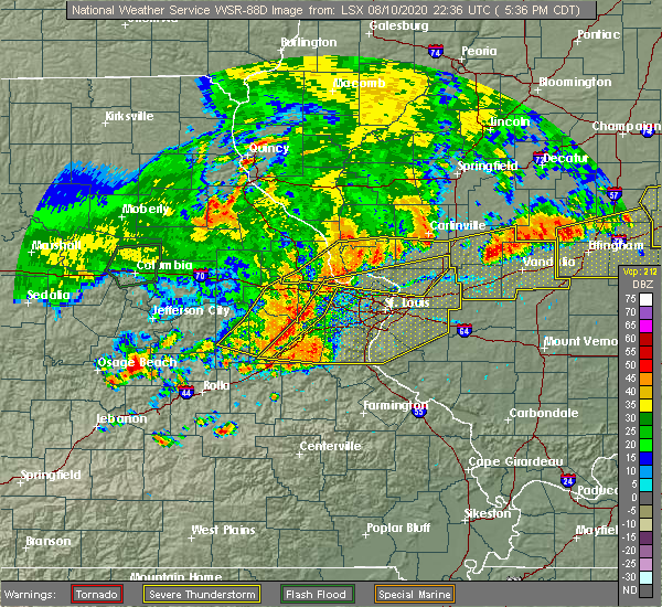 Radar Image for Severe Thunderstorms near Olivette, MO at 8/10/2020 5:38 PM CDT