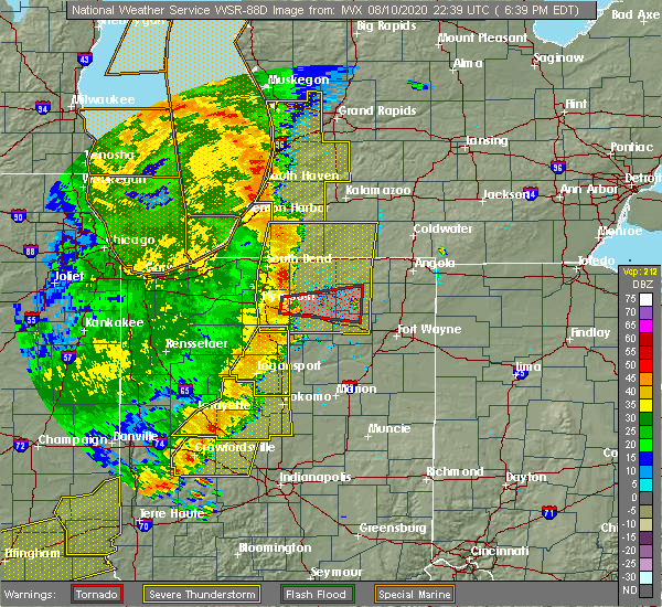 Radar Image for Severe Thunderstorms near Silver Lake, IN at 8/10/2020 6:51 PM EDT