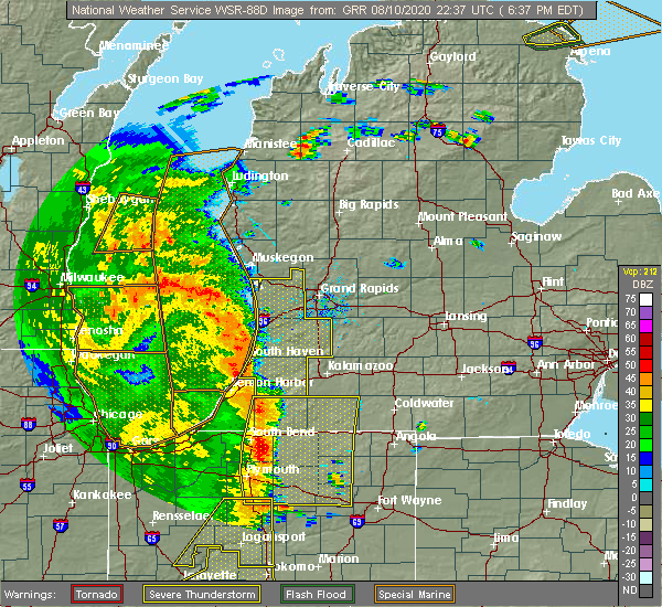 Radar Image for Severe Thunderstorms near Portage, MI at 8/10/2020 6:53 PM EDT