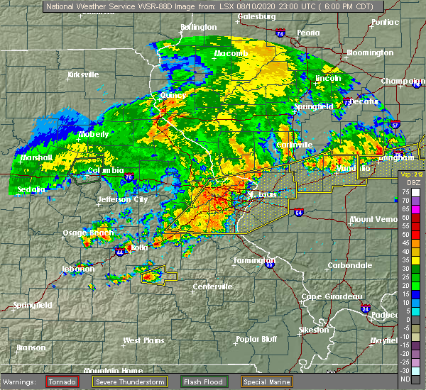 Radar Image for Severe Thunderstorms near New Baden, IL at 8/10/2020 6:02 PM CDT
