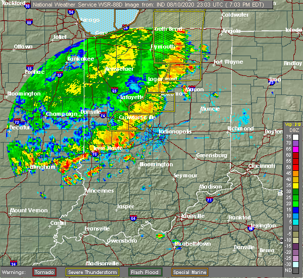 Radar Image for Severe Thunderstorms near Indianapolis, IN at 8/10/2020 7:07 PM EDT