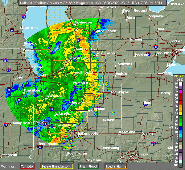 Radar Image for Severe Thunderstorms near Fort Wayne, IN at 8/10/2020 7:14 PM EDT
