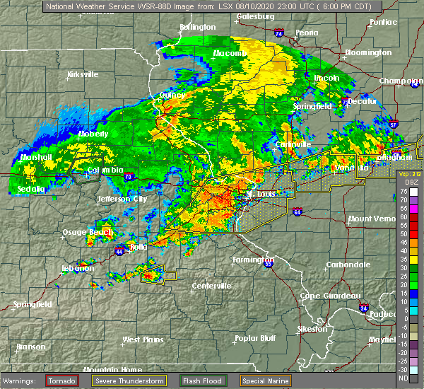 Radar Image for Severe Thunderstorms near New Baden, IL at 8/10/2020 6:15 PM CDT
