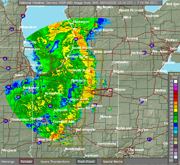 Radar Image for Severe Thunderstorms near Columbia City, IN at 8/10/2020 7:21 PM EDT