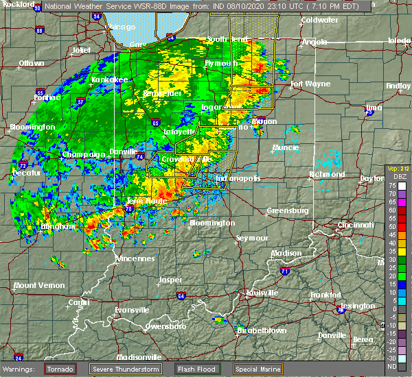 Radar Image for Severe Thunderstorms near Chesterfield, IN at 8/10/2020 7:22 PM EDT