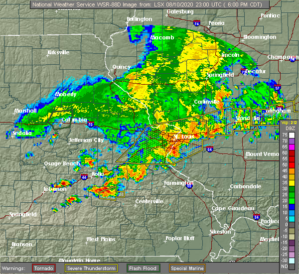 Radar Image for Severe Thunderstorms near New Baden, IL at 8/10/2020 6:25 PM CDT