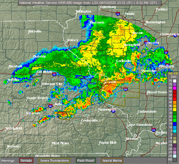 Radar Image for Severe Thunderstorms near New Baden, IL at 8/10/2020 6:39 PM CDT