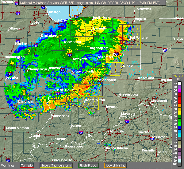 Radar Image for Severe Thunderstorms near Indianapolis, IN at 8/10/2020 7:39 PM EDT