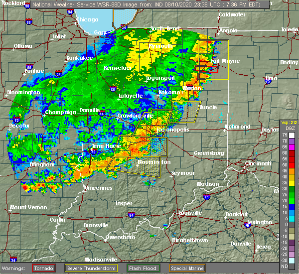 Radar Image for Severe Thunderstorms near Indianapolis, IN at 8/10/2020 7:41 PM EDT
