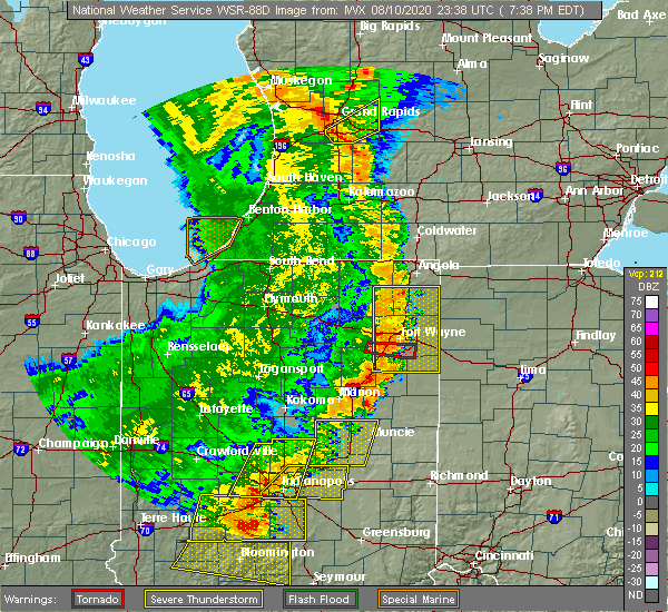 Radar Image for Severe Thunderstorms near Fort Wayne, IN at 8/10/2020 7:43 PM EDT