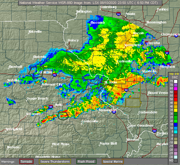 Radar Image for Severe Thunderstorms near Hoyleton, IL at 8/10/2020 6:54 PM CDT