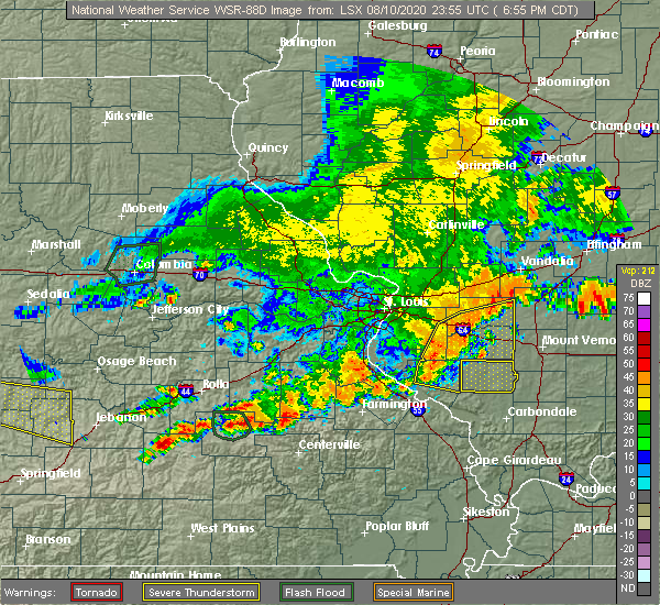 Radar Image for Severe Thunderstorms near Hoyleton, IL at 8/10/2020 6:59 PM CDT