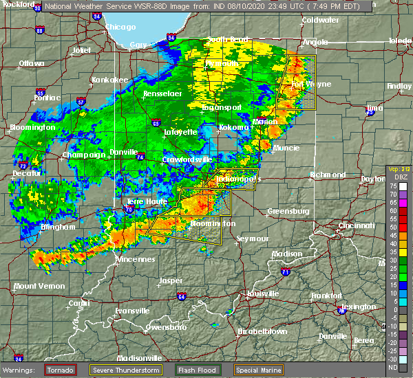 Radar Image for Severe Thunderstorms near Indianapolis, IN at 8/10/2020 7:58 PM EDT