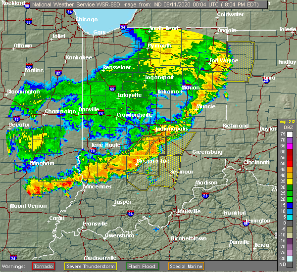 Radar Image for Severe Thunderstorms near Indianapolis, IN at 8/10/2020 8:07 PM EDT