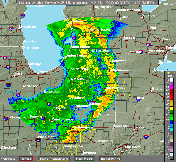 Radar Image for Severe Thunderstorms near Coldwater, OH at 8/10/2020 8:06 PM EDT