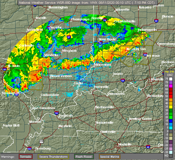 Radar Image for Severe Thunderstorms near Sesser, IL at 8/10/2020 7:14 PM CDT