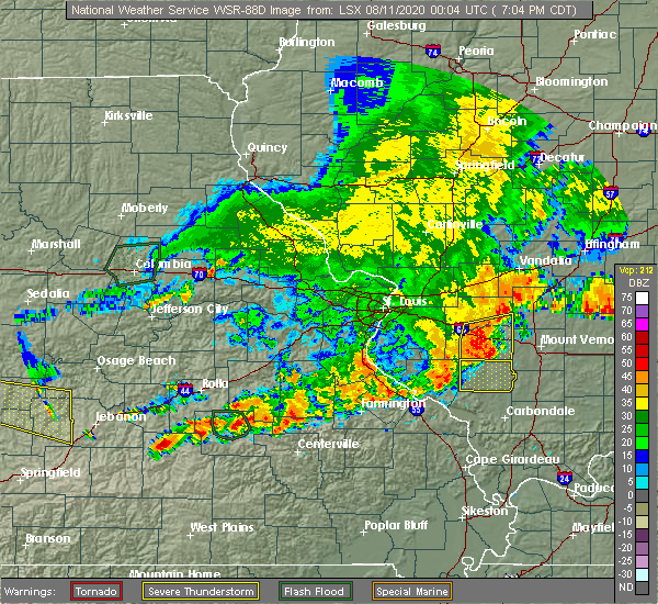Radar Image for Severe Thunderstorms near Hoyleton, IL at 8/10/2020 7:24 PM CDT