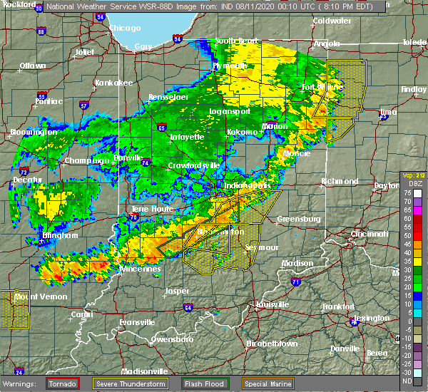 Radar Image for Severe Thunderstorms near Indianapolis, IN at 8/10/2020 8:26 PM EDT