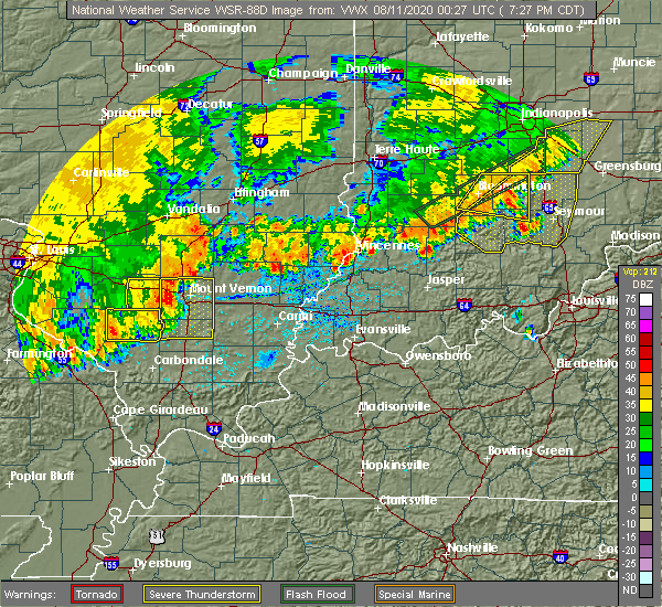 Radar Image for Severe Thunderstorms near Wayne City, IL at 8/10/2020 7:34 PM CDT