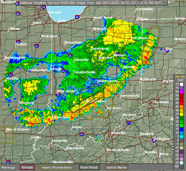 Radar Image for Severe Thunderstorms near Taylorsville, IN at 8/10/2020 8:35 PM EDT