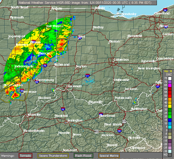 Radar Image for Severe Thunderstorms near Piqua, OH at 8/10/2020 8:39 PM EDT