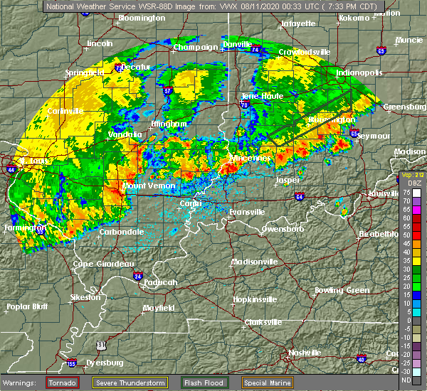 Radar Image for Severe Thunderstorms near Sesser, IL at 8/10/2020 7:42 PM CDT