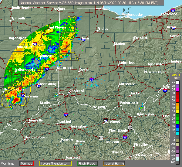 Radar Image for Severe Thunderstorms near New Bremen, OH at 8/10/2020 8:44 PM EDT