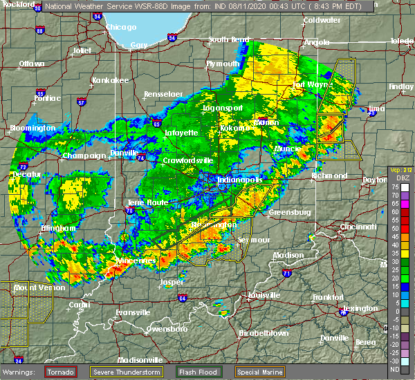 Radar Image for Severe Thunderstorms near Taylorsville, IN at 8/10/2020 8:46 PM EDT