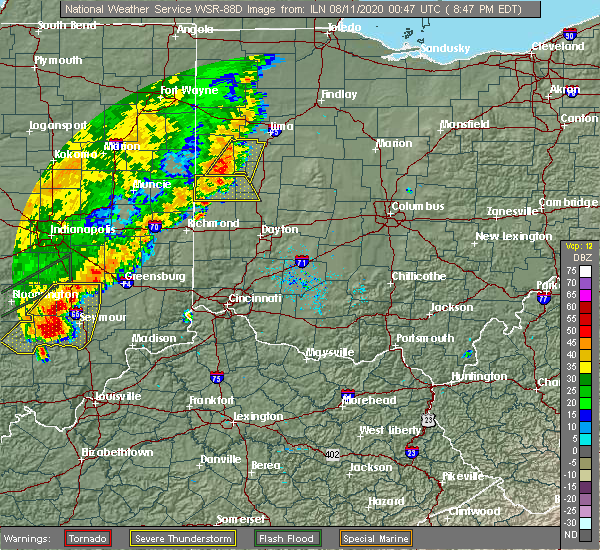 Radar Image for Severe Thunderstorms near Piqua, OH at 8/10/2020 8:52 PM EDT