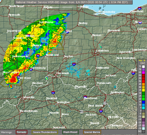 Radar Image for Severe Thunderstorms near Fort Loramie, OH at 8/10/2020 8:56 PM EDT