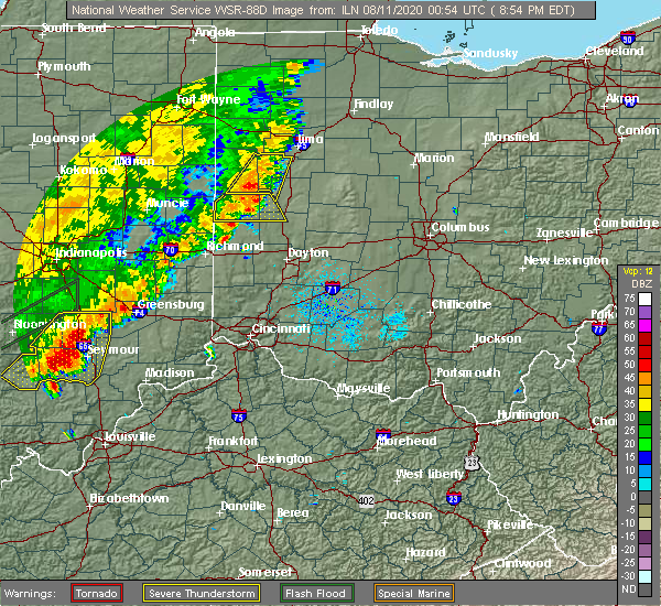 Radar Image for Severe Thunderstorms near Piqua, OH at 8/10/2020 9:00 PM EDT