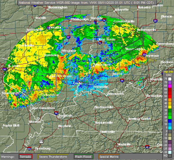 Radar Image for Severe Thunderstorms near McLeansboro, IL at 8/10/2020 8:05 PM CDT