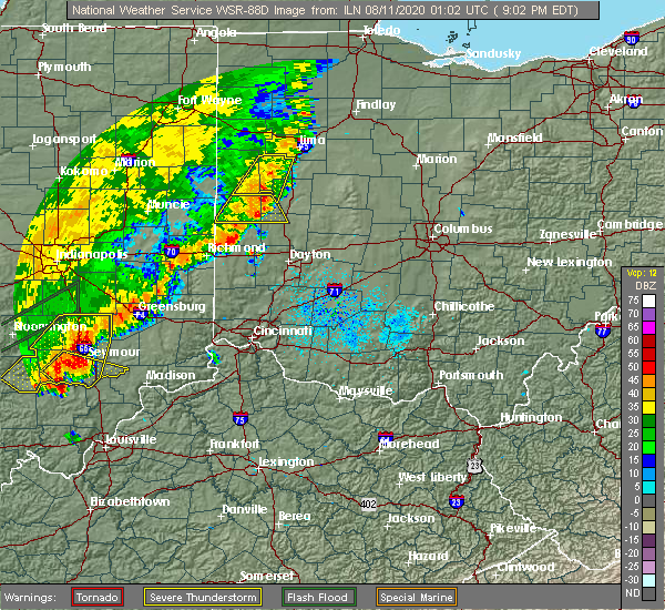 Radar Image for Severe Thunderstorms near Fort Loramie, OH at 8/10/2020 9:06 PM EDT