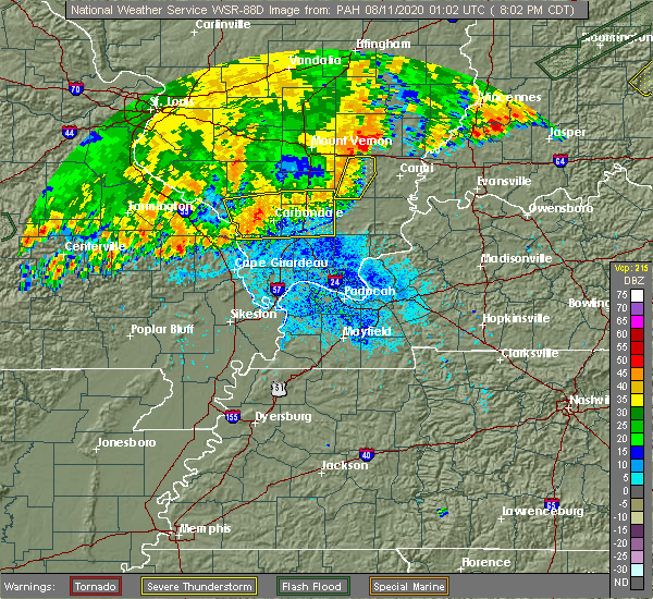 Radar Image for Severe Thunderstorms near Crainville, IL at 8/10/2020 8:07 PM CDT