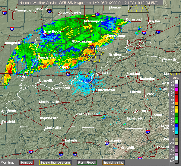 Radar Image for Severe Thunderstorms near Brownstown, IN at 8/10/2020 9:16 PM EDT