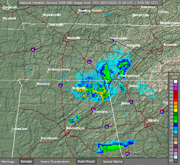 Radar Image for Severe Thunderstorms near Scottsboro, AL at 8/10/2020 8:18 PM CDT