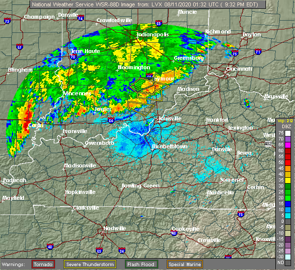 Radar Image for Severe Thunderstorms near Seymour, IN at 8/10/2020 9:37 PM EDT