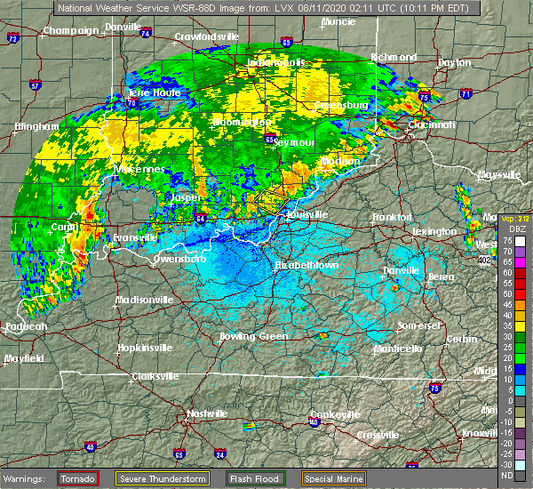 Radar Image for Severe Thunderstorms near New Pekin, IN at 8/10/2020 10:14 PM EDT