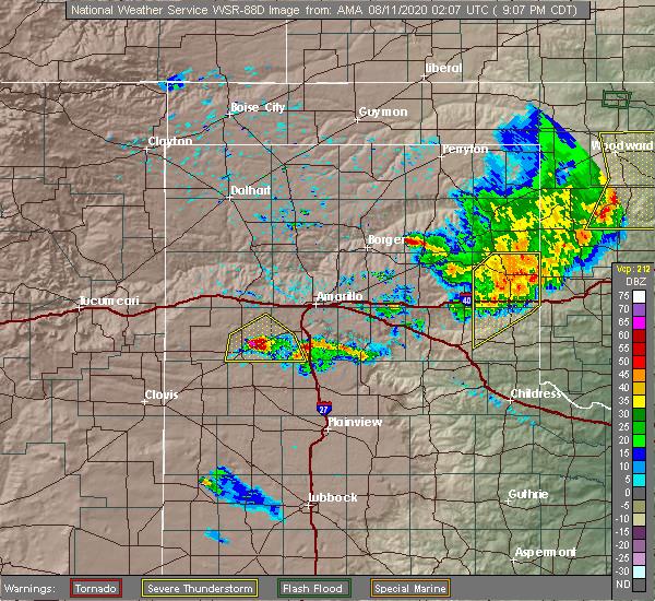 Radar Image for Severe Thunderstorms near Wheeler, TX at 8/10/2020 9:14 PM CDT