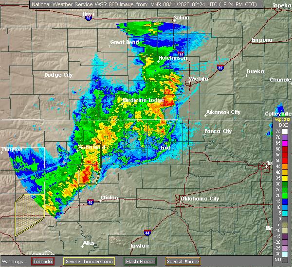 Radar Image for Severe Thunderstorms near Butler, OK at 8/10/2020 9:32 PM CDT