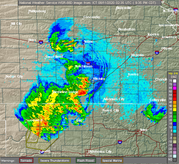 Radar Image for Severe Thunderstorms near Mayfield, KS at 8/10/2020 9:41 PM CDT